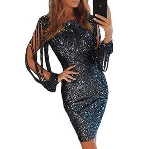 Womens Sequin Tassel Long Sleeve Dress